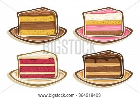 Vector Set Assorted Slices Of Cake, Collection Of 4 Cut Out Illustrations Of Diverse Colorful Triang