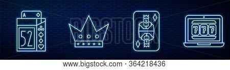 Set Line King Playing Card With Diamonds, Deck Of Playing Cards, King Playing Card And Laptop And Sl