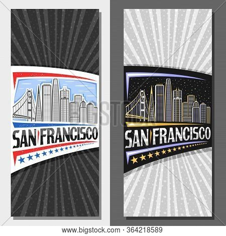 Vector Layouts For San Francisco, Decorative Leaflet With Line Illustration Of San Francisco City Sc