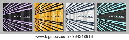 Vector Square Covers With Rays, 4 Layouts With Decorative Design Rays With Copy Space For Ad Text, T
