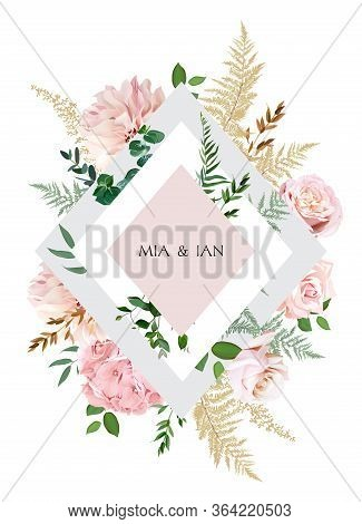 Elegant Wedding Card With Spring Flowers. Dusty Pink Blush Rose, Hydrangea, Dahlia, Eucalyptus, Pamp