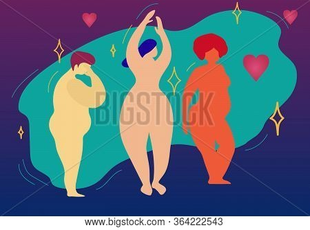 Multiracial Women Of Different Height, Figure Type And Size Standing In Row. Female Cartoon Characte