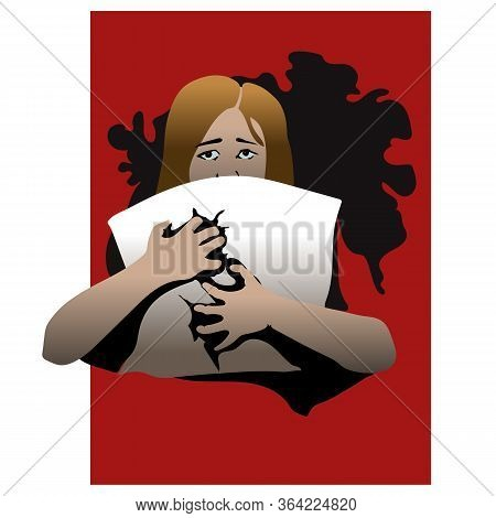 Domestic Violence Poster Concept, Vector Illustration Against Children Sexual Abuse With Girl Sittin