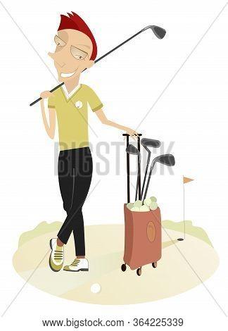 Smiling Golfer Man On The Golf Course Illustration. Cartoon Golfer Man With Golf Bag And Golf Club O