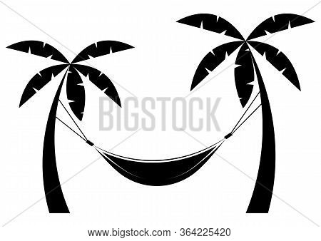 Hammock Icon In Glyph Style. Hammock Between Palm Trees In Black Color. Vector