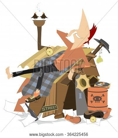 Cheerfulness Beggar Lying On The Roof Of His Hut Illustration. Beggar Has A Rest Lying On The Roof O