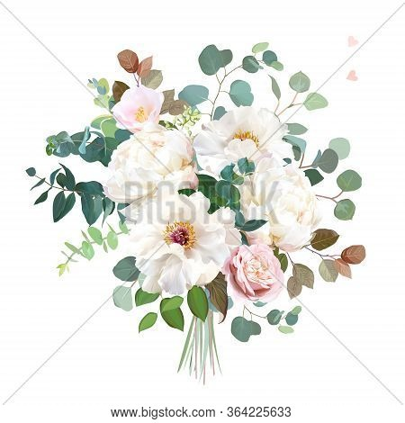 Dusty Pink Blush Rose, White And Creamy Woody Peony, Camellia Flowers Vector Design Wedding Bouquet.