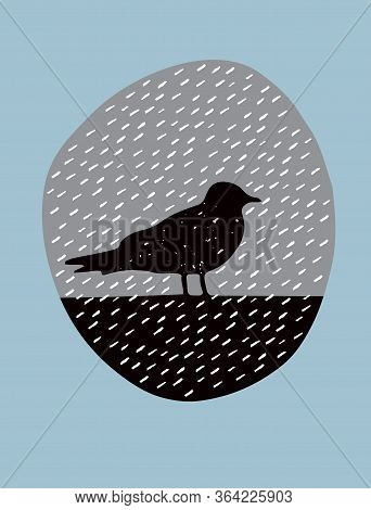 Simple Vector Illustration With Black Birds In The Rain. Black Silhouette Of The Bird In An Irregula