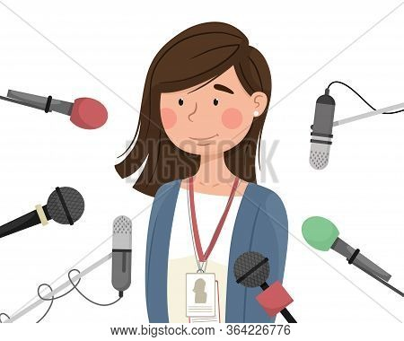A Young Girl Surrounded By Microphones Gives An Interview. Opening And Presentation Of A New, Public