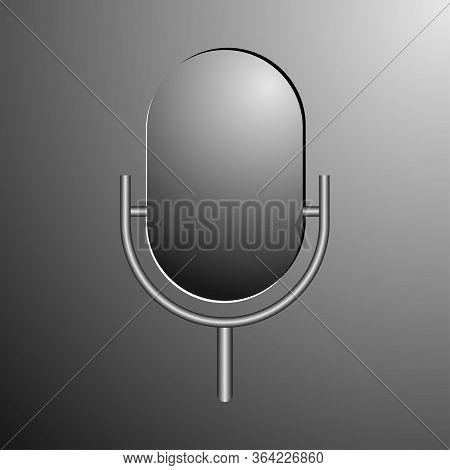 Microphone 3d. Music Studio Mic Equipment. Vector Realistic Microphone In Grey Color. Illustration O