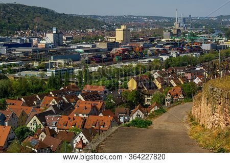 Stuttgart,germany - April 16,2020:rotenberg This Is The View From A Vineyard To The Big Industrial A