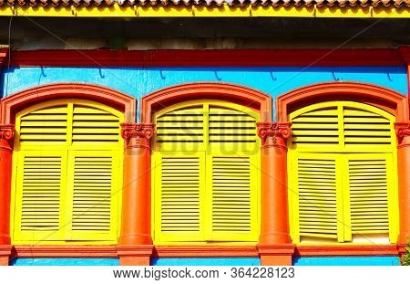 Shophouse windows in Little India, Singapore