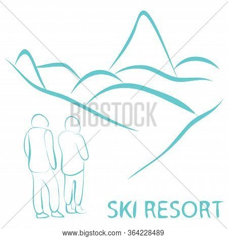 Ski Resort. Ski Resort Banner, Panoramic Mountain Landscape With People In Outline Style. Logotype O