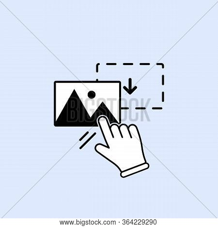 Drag And Drop Image, Photo, Picture Icon With Hand On Isolated Background For Applications, Web, App