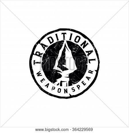 Native Indian Spear Arrowhead Logo Design, Hunting, Hunt, Hunter Vintage Grunge Retro Hipster Logo D