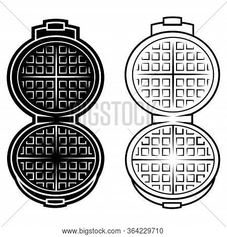 Wafer Iron. Wafer-iron Icon. Open Waffle Iron On A White Background With Clipping Path. Simple Outli