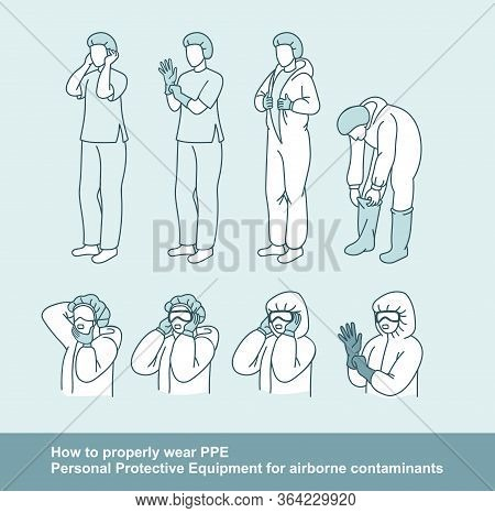 Steps How To Properly Wear Personal Protective Equipment For Airborne Contaminants. Outline Vector I