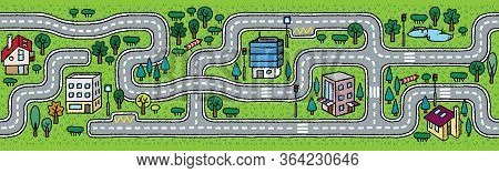 City Seamless Pattern. Roads With Grass Areas Background
