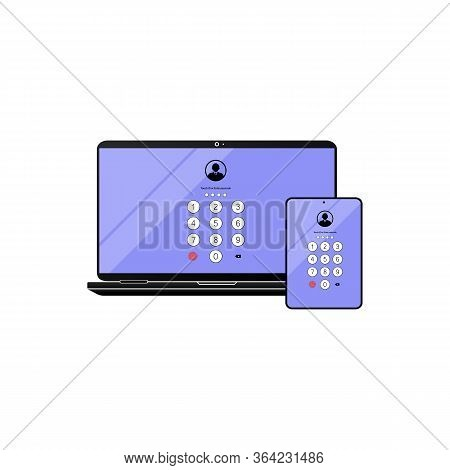 Touch Id Or Enter Passcode, Password, Interface On Laptop, Desktop, Computer, Tablet Icon Flat On Is