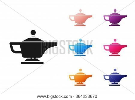 Black Magic Lamp Or Aladdin Lamp Icon Isolated On White Background. Spiritual Lamp For Wish. Set Ico