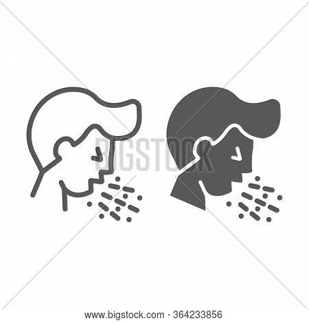 Cough Line And Glyph Icon, Coronavirus And Flu, Coughing Man Sign, Vector Graphics, A Linear Icon On