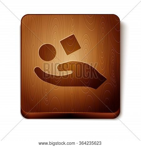 Brown Cube Levitating Above Hand Icon Isolated On White Background. Levitation Symbol. Wooden Square