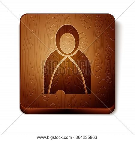 Brown Mantle, Cloak, Cape Icon Isolated On White Background. Magic Cloak Of Mage, Wizard And Witch F