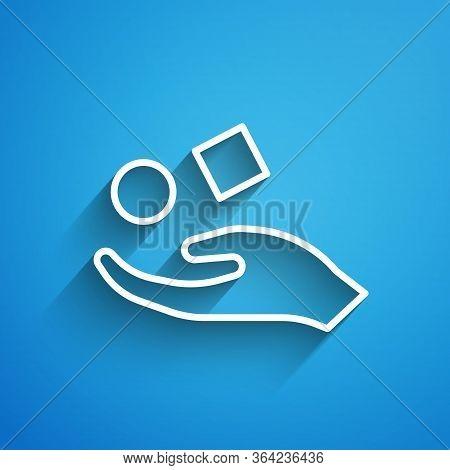 White Line Cube Levitating Above Hand Icon Isolated On Blue Background. Levitation Symbol. Long Shad