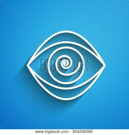 White Line Hypnosis Icon Isolated On Blue Background. Human Eye With Spiral Hypnotic Iris. Long Shad