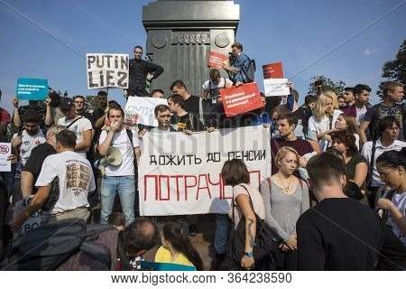 Moscow, Russia-july 27, 2019: People At A Rally Are Opposed To The Removal Of Independent Candidates