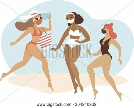 Young Girls Wearing Bikini With Matching Protective Medical Masks. Flat Vector Concept Illustration