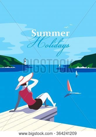 Summer Holidays Enjoy At Seaside Landscape. Blue Ocean Scenic View Poster. Freehand Drawn Pop Art Re