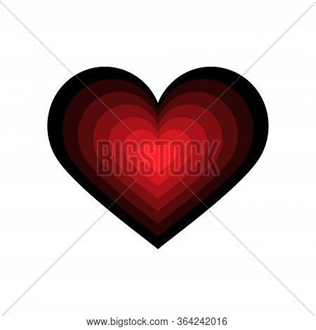 Heart Icon. Black And Red Color Transitions. Colored Vector Illustration Isolated On White Backgroun