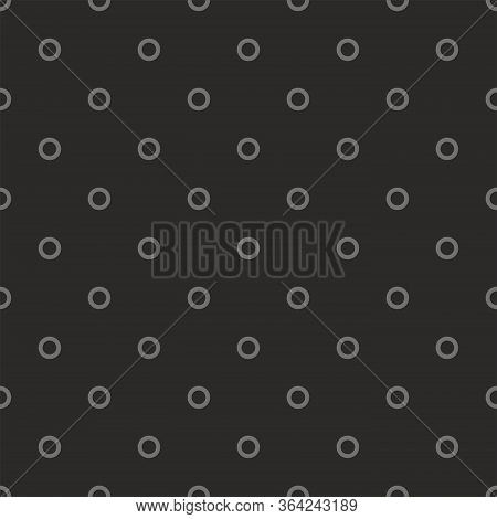 Seamless Dark Vector Pattern With Grey Polka Dots On Black Background. For Web Design, Blog, Desktop