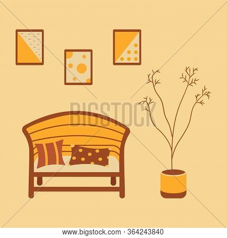 The Interior Of The Room. Comfortable Wide Chair With Soft Pillows, 3 Abstract Paintings Hang On The