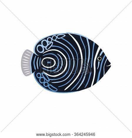 Fish Is Dark Emperor Angelfish Vector Illustration