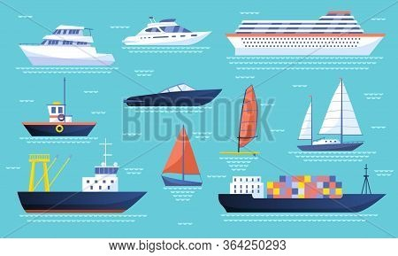Collection Of Ships And Sailboats On The Ocean With A Passenger Liner, Luxury Yachts, Speedboat, Tan