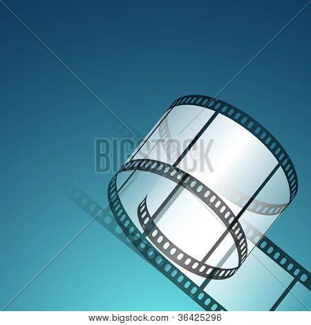 Film stripe or film reel on shiny blue movie background. EPS 10