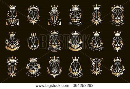 Keys Logos Big Vector Set, Vintage Heraldic Turnkeys Emblems Collection, Classic Style Heraldry Desi