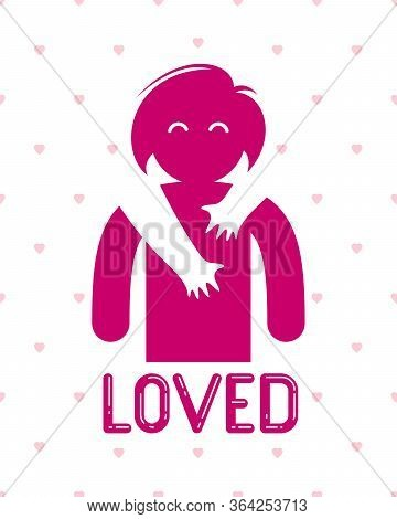 Beloved Woman With Care Hands Of A Lover Man Hugging And Caresses Her Shoulders, Vector Icon Logo Or