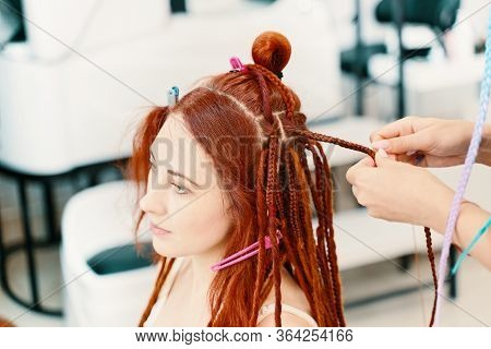 Barber Braids Dreadlocks. Girl Head With Braids From Material, Creative Hairstyle With Thick Plaits