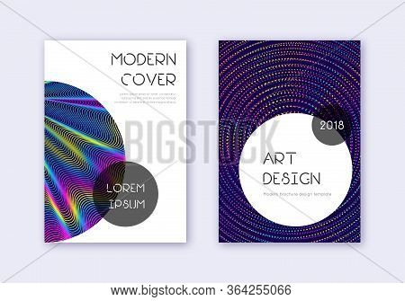 Trendy Cover Design Template Set. Rainbow Abstract Lines On Dark Blue Background. Graceful Cover Des
