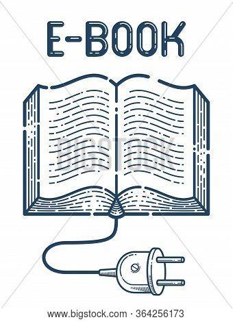 Open Book With Cable Plug Vector Linear Icon, Electronic Book Concept Line Art Symbol Or Logo, E-boo