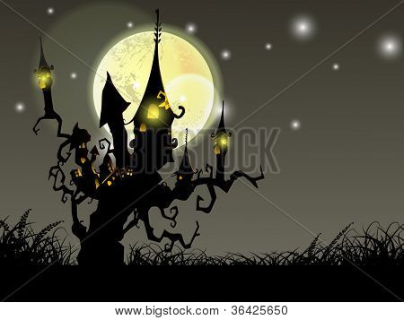 Halloween full moon night background with haunted house and dead trees. EPS 10.