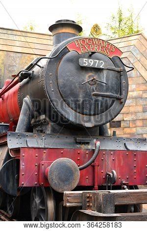 Osaka, Jp - April 7 - Harry Potter Theme Hogwarts Express Train At Universal Studios Japan On April