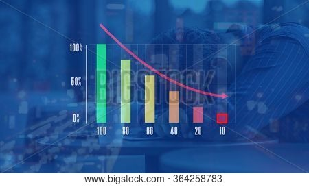 Multi Colors Infographics Histogram Or Infographics Bar Chart With Arrow Down And Stressed Businessm