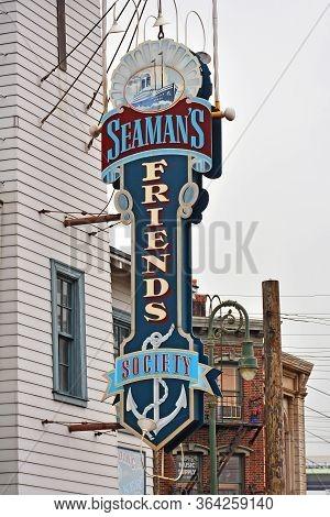 Osaka, Jp - April 7 - Seaman Friends Society Sign At Universal Studios Japan On April 7, 2017 In Osa