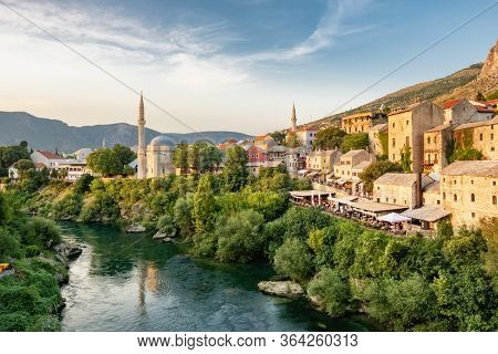 Mostar Old Town and Neretva river at sunset, Bosnia and Herzegovina