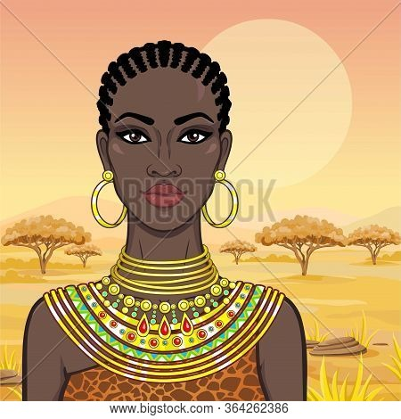Portrait Of The Beautiful African Woman  In Ancient Clothes And Jewelry. Savanna Princess, Amazon, N