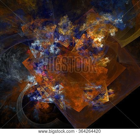 Abstract Colorful Painting. Imitation Of Oil Painting On A Black Background. Abstract Fractal Backgr